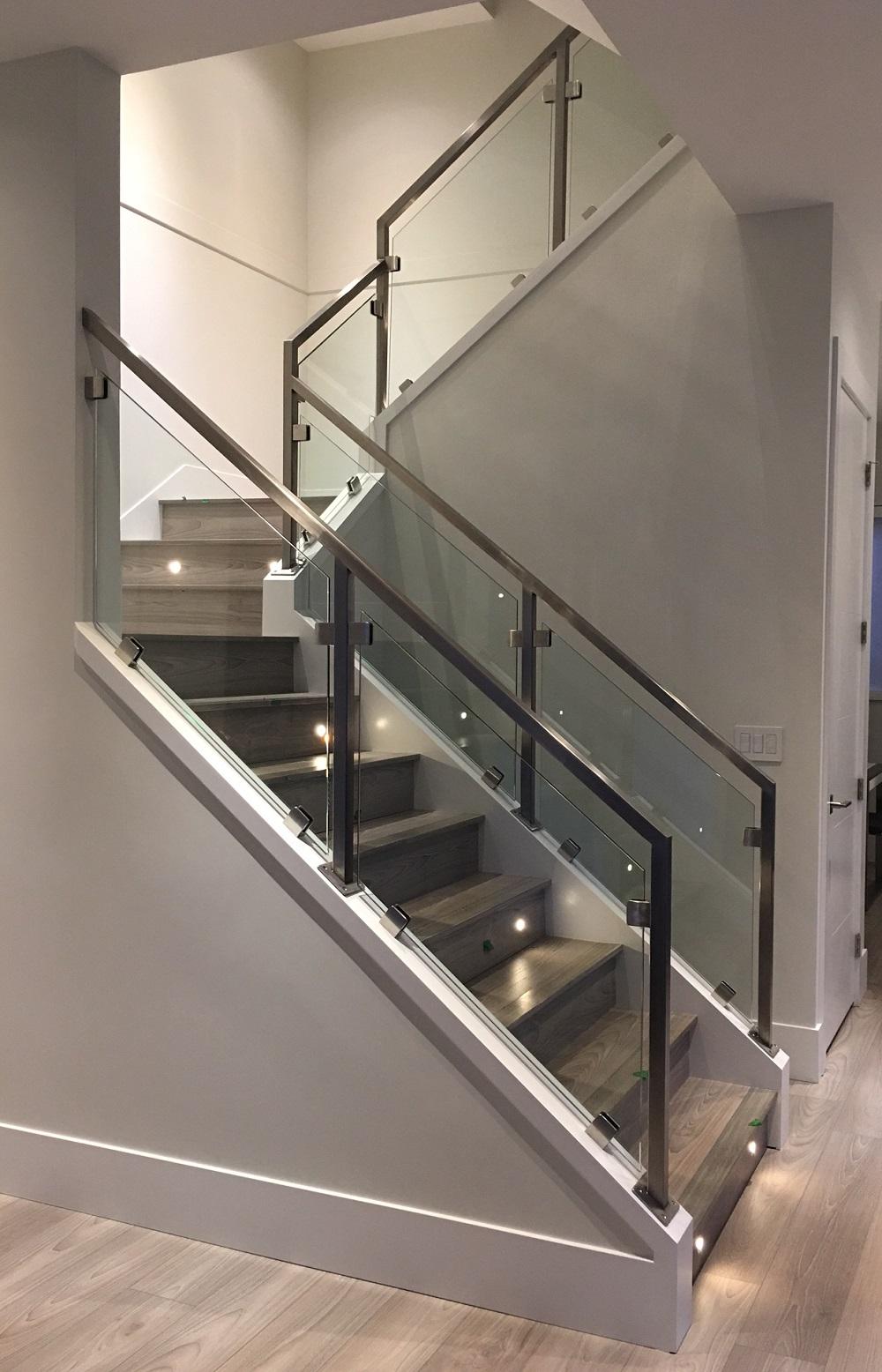 Glass Stair Railings Interior: Modern Interior Stair Railings, Stainless Steel, Richmond, Bc